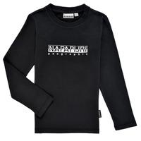 Textil Chlapecké Trička s dlouhými rukávy Napapijri S-BOX LS Černá