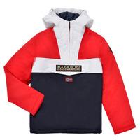 Textil Chlapecké Parky Napapijri RAINFOREST POCKET Modrá / Bílá / Červená