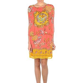 Textil Ženy Krátké šaty Derhy ACCORDABLE Růžová / Žlutá