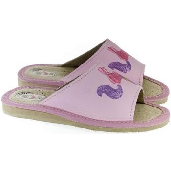 Boty Dívčí Papuče Just Mazzoni Detské kožené ružové papuče jednorožec KYARA 25-34 ružová
