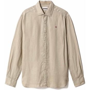 Textil Muži Košile s dlouhymi rukávy Napapijri NP0A4F81 Béžový