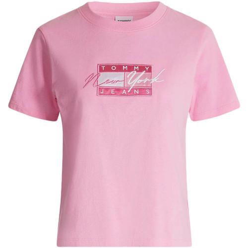 Textil Ženy Trička s krátkým rukávem Tommy Jeans DW0DW09813 Růžový