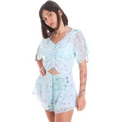 Textil Ženy Overaly / Kalhoty s laclem Me Fui M20-1058X1 Modrý