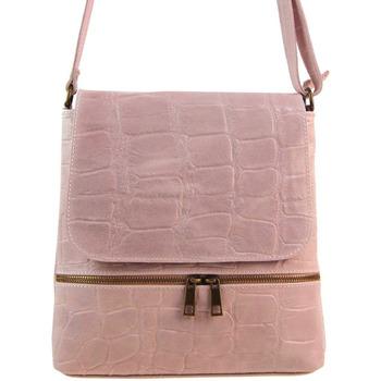Taška Ženy Kabelky  Borse In Pelle Kožená dámská crossbody kabelka v kroko designu růžová růžová