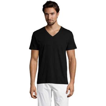 Textil Muži Trička s krátkým rukávem Sols Master camiseta hombre cuello pico Negro