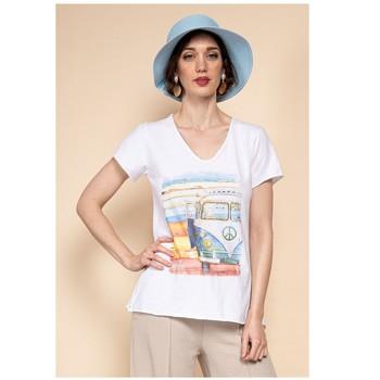 Textil Ženy Halenky / Blůzy Fashion brands 8301-COMBI-SKY-BLUE Modrá