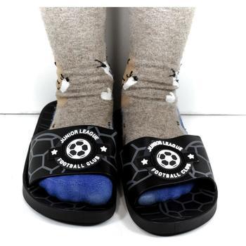 Boty Děti pantofle Wink Detské čierne šľapky FOOTBALL čierna