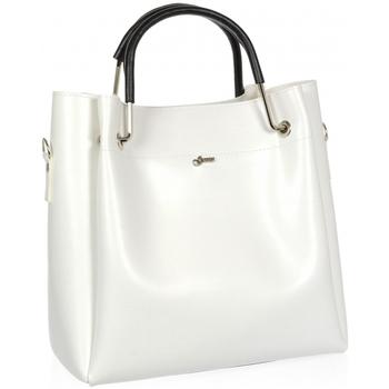 Taška Ženy Kabelky  Grosso Bílá moderní dámská kabelka s černými ručkami S728 bílá / smetanová
