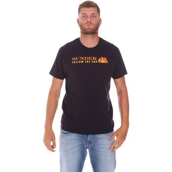 Textil Muži Trička s krátkým rukávem Sundek M049TEJ7800 Černá