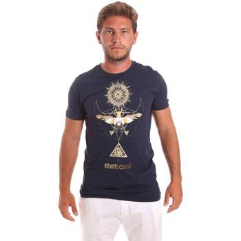 Textil Muži Trička s krátkým rukávem Roberto Cavalli HST65B Modrý