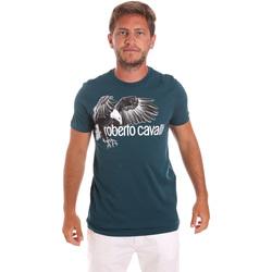 Textil Muži Trička s krátkým rukávem Roberto Cavalli HST68B Zelený