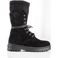 Boty Ženy Kotníkové boty Pk Exkluzívní dámské černé  kotníčkové boty na plochém podpatku