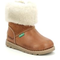 Boty Dívčí Zimní boty Kickers Chaussures bébé  Nonofur camel brillant