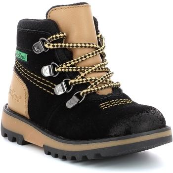 Boty Chlapecké Kotníkové boty Kickers Chaussures enfant  Kicknature noir/jaune