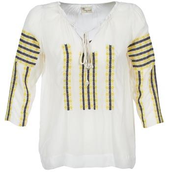 Textil Ženy Halenky / Blůzy Stella Forest ATU025 Bílá / Šedá / Žlutá