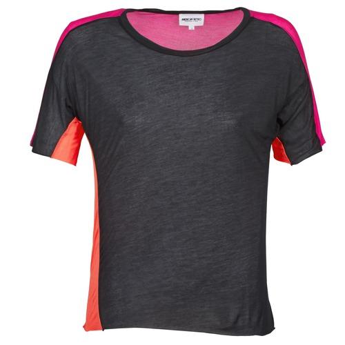 Textil Ženy Trička s krátkým rukávem American Retro CAROLE Černá / Růžová