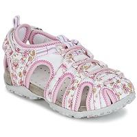 Boty Dívčí Sportovní sandály Geox S.ROXANNE C Bílá / Růžová