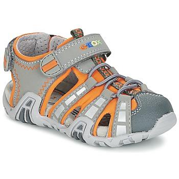 Boty Chlapecké Sportovní sandály Geox SANDAL KRAZE B Šedá / Oranžová
