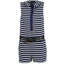 Textil Ženy Overaly / Kalhoty s laclem Petit Bateau FAITOUT Tmavě modrá / Bílá