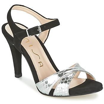 Boty Ženy Sandály Unisa WARIAN Černá / Stříbřitá