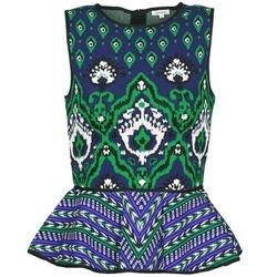 Textil Ženy Tílka / Trička bez rukávů  Manoush JACQUARD OOTOMAN Modrá / Černá / Zelená