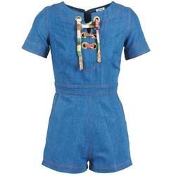 Textil Ženy Overaly / Kalhoty s laclem Manoush LACET Modrá