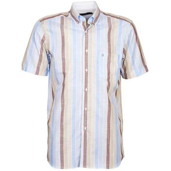 Textil Muži Košile s krátkými rukávy Pierre Cardin 539936240-130 Modrá / Béžová / Hnědá