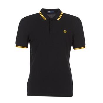 Textil Muži Polo s krátkými rukávy Fred Perry SLIM FIT TWIN TIPPED Černá / Žlutá