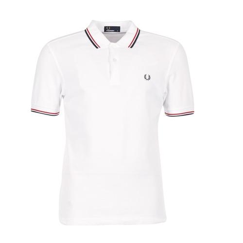 Textil Muži Polo s krátkými rukávy Fred Perry SLIM FIT TWIN TIPPED Bílá / Červená