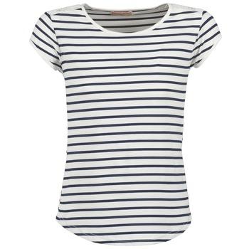Textil Ženy Trička s krátkým rukávem Moony Mood EIYA Bílá / Modrá
