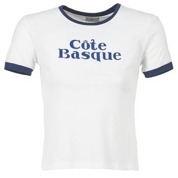 Textil Ženy Trička s krátkým rukávem Loreak Mendian COTE BASQUE Krémově bílá / Tmavě modrá