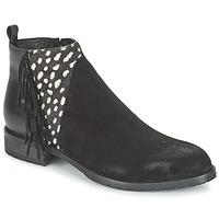 Boty Ženy Kotníkové boty Meline VELOURS NERO PLUME NERO Černá / Bílá