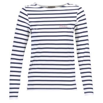 Textil Ženy Trička s dlouhými rukávy Betty London FLIGEME Bílá / Modrá