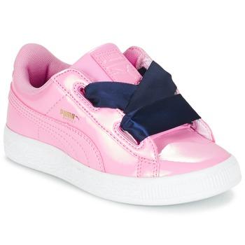 Boty Dívčí Nízké tenisky Puma BASKET HEART PATENT PS Růžová / Tmavě modrá