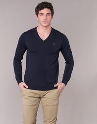 Textil Muži Svetry Gant WEIGHT COTTON V NECK Tmavě modrá