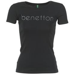 Textil Ženy Trička s krátkým rukávem Benetton AJAVOL Černá