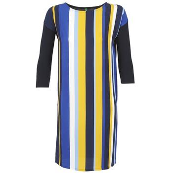 Textil Ženy Krátké šaty Benetton VAGODA Modrá / Žlutá / Bílá
