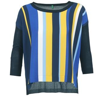 Textil Ženy Svetry Benetton OVEZAK Modrá / Žlutá / Bílá