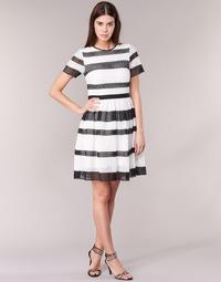 Textil Ženy Krátké šaty MICHAEL Michael Kors GRAPHIC CR STRIPE DRS Černá / Bílá