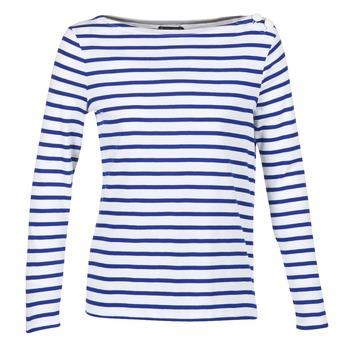 Textil Ženy Trička s dlouhými rukávy Petit Bateau FIX Bílá / Modrá