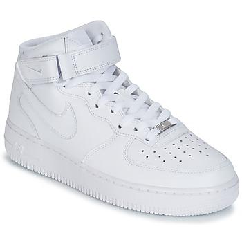 Boty Muži Kotníkové tenisky Nike AIR FORCE 1 MID 07 LEATHER Bílá