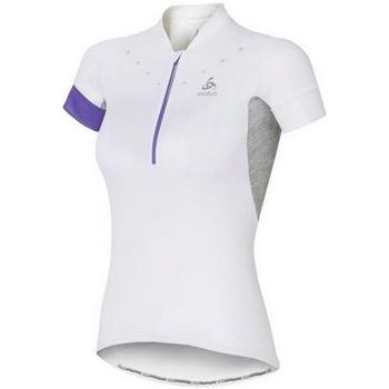 Textil Ženy Trička s krátkým rukávem Odlo Stand-Up Collar Short Sleeve 1/2 Zip Isola 410911-10000 White
