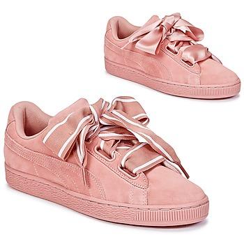 Boty Ženy Nízké tenisky Puma Basket Heart Satin Růžová