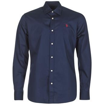Textil Muži Košile s dlouhymi rukávy U.S Polo Assn. ZED Tmavě modrá