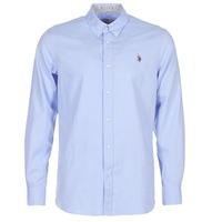 Textil Muži Košile s dlouhymi rukávy U.S Polo Assn. CALE Modrá