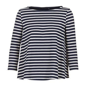 Textil Ženy Halenky / Blůzy Petit Bateau LAURENI Bílá / Tmavě modrá