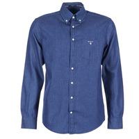 Textil Muži Košile s dlouhymi rukávy Gant THE INDIGO SHIRT Modrá