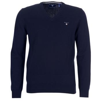 Textil Muži Svetry Gant SUPER FINE LAMBSWOOL V-NECK Tmavě modrá