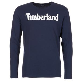 Textil Muži Trička s dlouhými rukávy Timberland LINEAR LOGO PRINT RINGER Tmavě modrá
