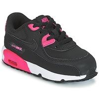 Boty Dívčí Nízké tenisky Nike AIR MAX 90 LEATHER TODDLER Černá / Růžová
